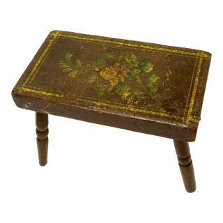 Antique American Primitive Hand Painted Fireside Stool For Sale