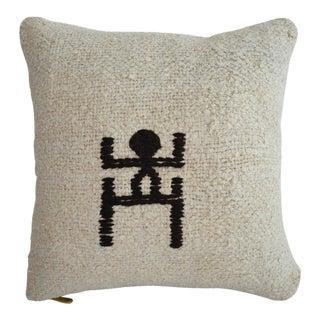 "Inca Motifs Handmade Kilim Rug Hemp Pillow Cover Throw - 16"" X 16"" For Sale"