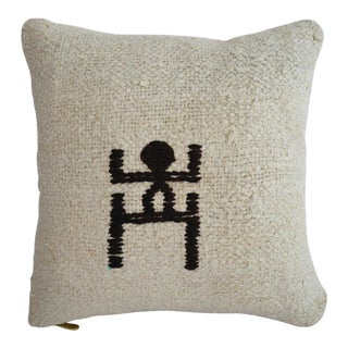 "Inca Motifs Handmade Rug Hemp Pillow Cover Throw 16"" X 16"" For Sale"