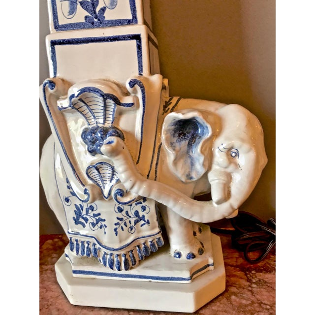 White 1960s Elephant Obelisk Lamps - a Pair For Sale - Image 8 of 11