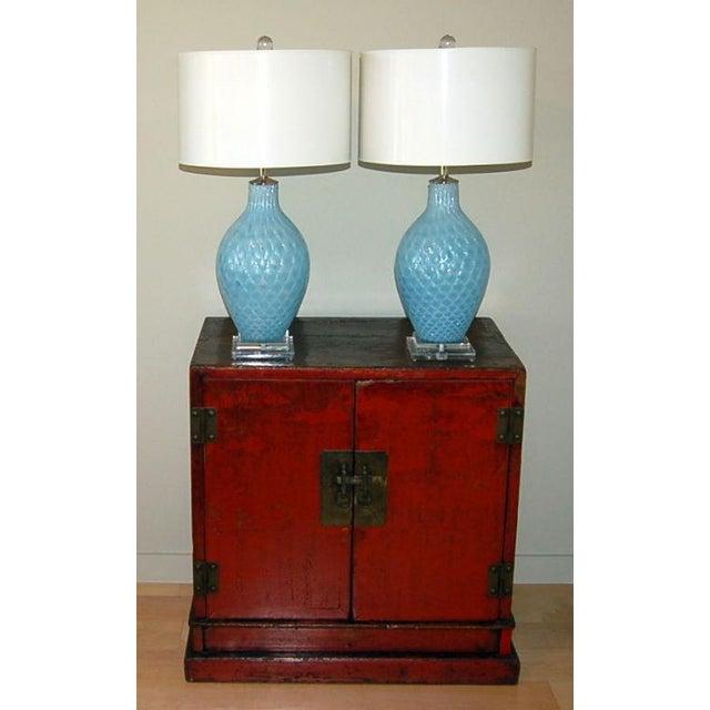 Galliano Ferro Galliano Ferro Vintage Murano Glass Table Lamps Blue For Sale - Image 4 of 9