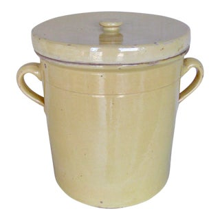 19th Century French Country Rustic Country Pottery Yellow Grease Pot For Sale