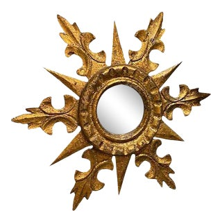 Round Gilt Starburst Mirror For Sale