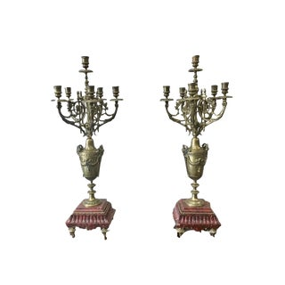 19th C. French Antique Gilt & Marble Candelabras - a Pair For Sale