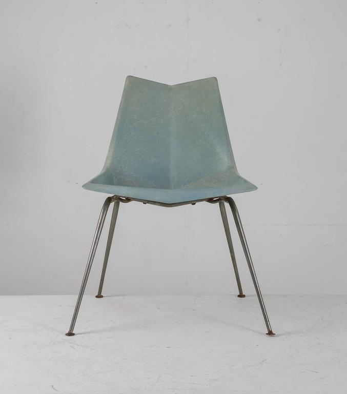 Paul McCobb Blue Grey Origami Side Chair, USA, 1950s   Image 2 Of