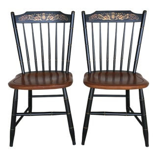 L. Hitchcock Black Harvest Baltic Side Chairs - a Pair For Sale