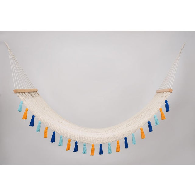Wood Handmade Handmade Deluxe Natural Cotton Hammock with Hue Inspired Tassels with Wooden Bar For Sale - Image 7 of 7