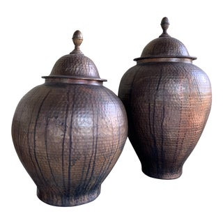 Hammered Copper Vases - A Pair For Sale