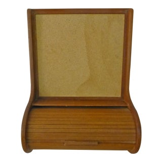 160s Danish Modern Teak and Cork Wall Mounted Catchall For Sale