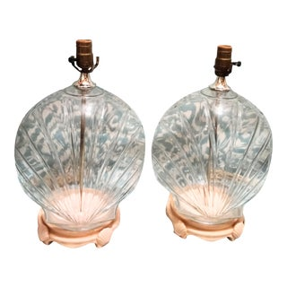 Vintage Clear Glass Large Palm Beach Regency Coastal Clam Shell Form Table Lamps- a Pair For Sale