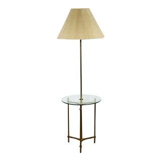 Mid Century Modern Laurel Brass Glass Tripod Floor Lamp Table 1970s Orig Shade For Sale