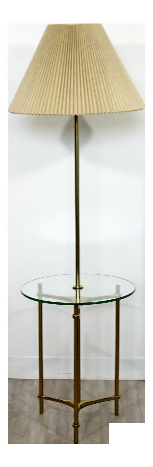 Mid Century Modern Laurel Brass Glass Tripod Floor Lamp Table 1970s Orig Shade Chairish