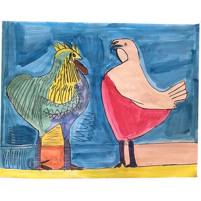 """""""The Leghorns"""" Watercolor and Marker Painting - Image 1 of 3"""