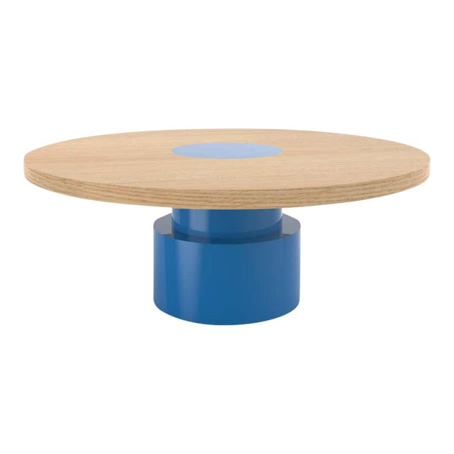 Contemporary 100C Coffee Table in Oak and Blue by Orphan Work, 2020 For Sale