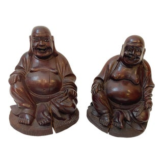 Vintage Chinese Hand Carved Bamboo Buddha Figurines - Pair For Sale