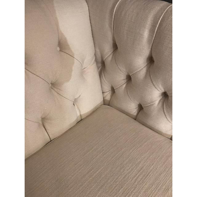 Traditional Bernhardt White Tufted Box Shaped Loveseat For Sale - Image 3 of 9