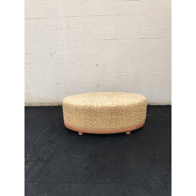 2000s Mid Century Modern Gold Leopard Print Light Wood Ottoman For Sale - Image 5 of 6