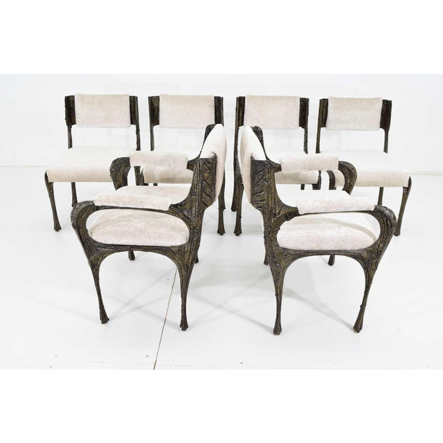 Set of Six Paul Evans Brutalist Sculpted Bronze and Resin Dining Chairs, 1972 For Sale - Image 13 of 13