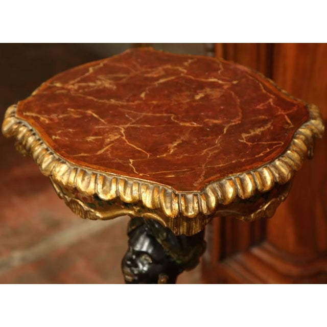 19th Century Italian Carved Polychrome, Faux Marble and Gilt Blackamoor Table For Sale - Image 4 of 7