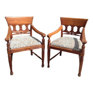 Pair of Anglo - Indian Colonial Armchairs For Sale