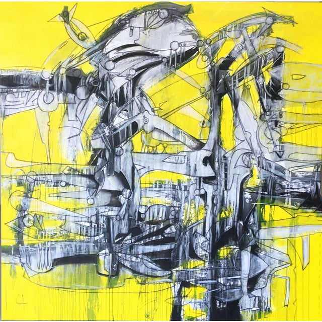 "Yellow Contemporary Abstract Large Oil Painting ""Leviathan"" by Maximo Caminero For Sale - Image 8 of 8"