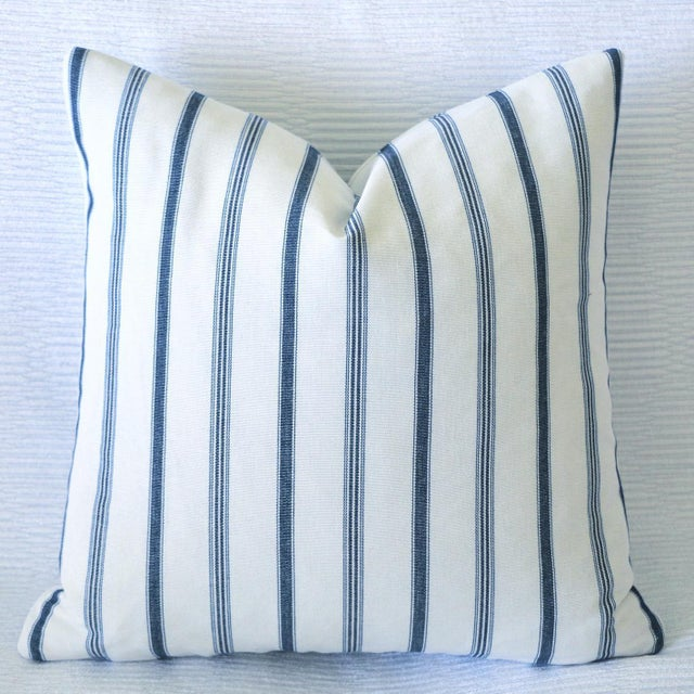 Offered is one Blue & Ivory pillow cover, made from 100% cotton canvas with woven French Mattress ticking stripes. Same...