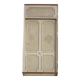 Antique White Geometric Design & Solid Header Transom Doors - A Pair For Sale