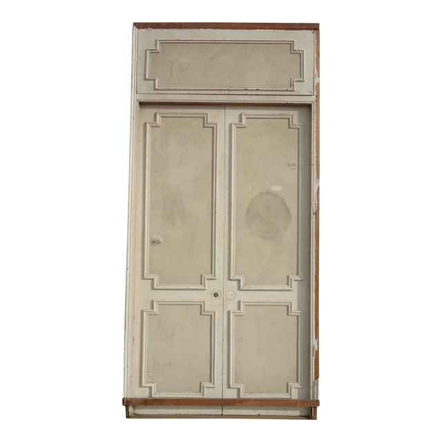 Antique White Geometric Design & Solid Header Transom Doors - A Pair - Image 1 of 10