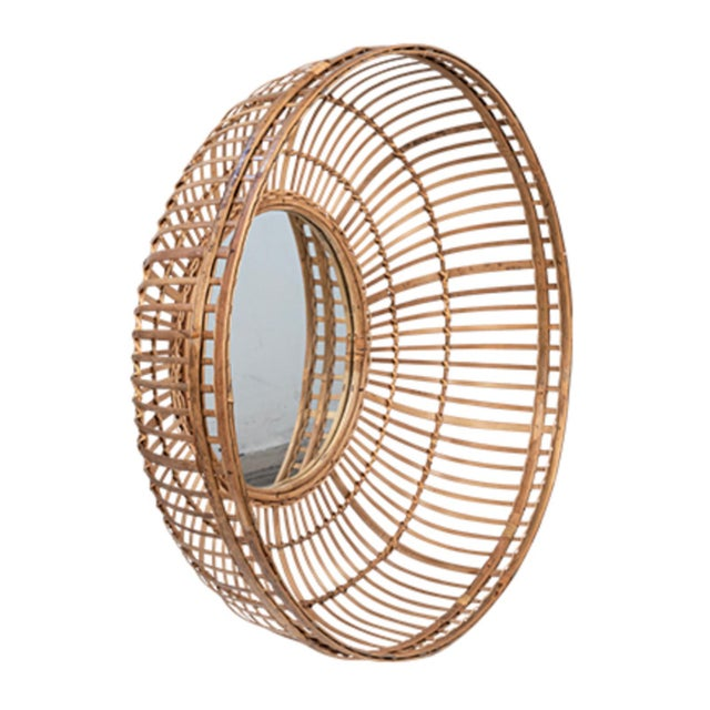 Bamboo basket frame mirror. Striking and unique mirror that works great in a variety of styles of interiors. Each may vary...