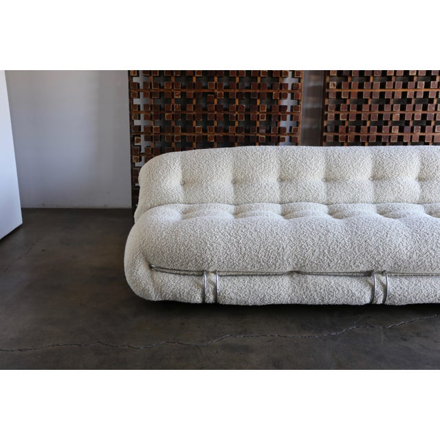 Bauhaus Afra & Tobia Scarpa Soriana Sofa for Cassina in Bouclé, Circa 1975 For Sale - Image 3 of 13
