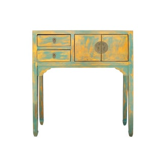 Chinese Distressed Light Teal Blue Copper Narrow Slim Foyer Side Table