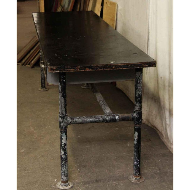 Wood Top Black Metal Work Table For Sale - Image 6 of 10