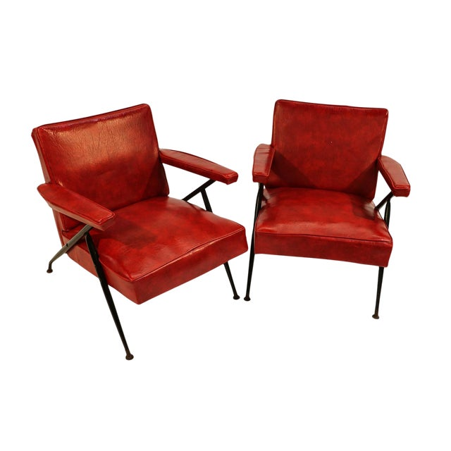 Viko Baumritter Red Lounge Chairs - a Pair - Image 1 of 10