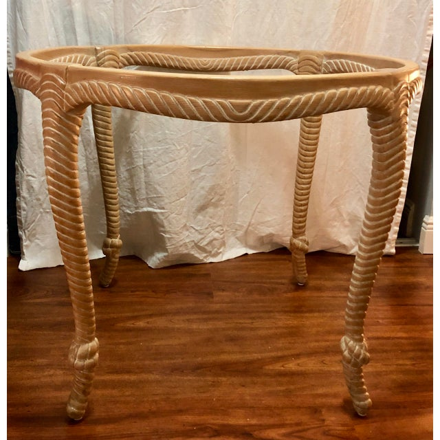 Vintage Italian Carved Wood Rope and Knot Round Table With Beveled Glass Top Faux Bois Hollywood Regency Palm Beach For Sale - Image 4 of 4
