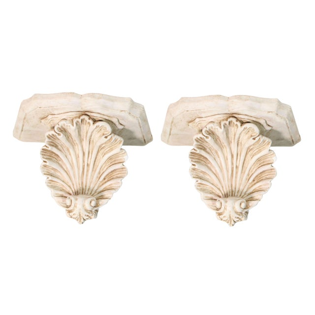 1940s Hollywood Regency White Plaster Wall Shell Corbels - a Pair For Sale