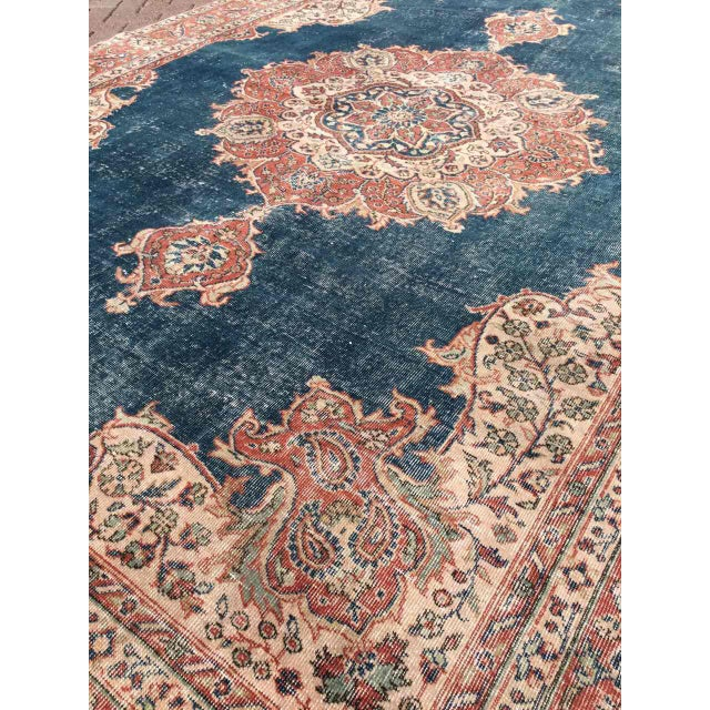 Textile Large Distressed Oushak Rug For Sale - Image 7 of 13