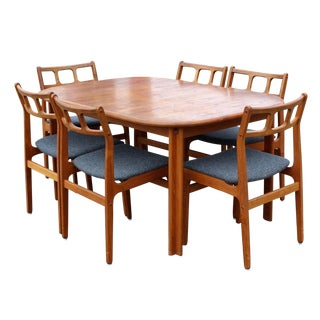 Mid-Century Modern Danish Diethelm D Scan Expandable Dining Set - Set of 7 For Sale