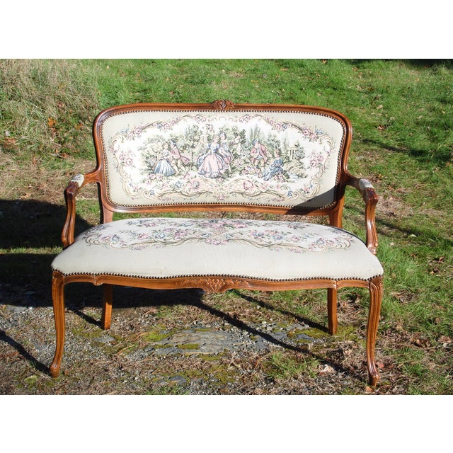 Vintage French Provincial Louis XV Style Tapestry Settee Chateau d'Ax Italy For Sale - Image 13 of 13