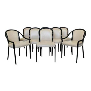 Contemporary Modern Stendig Italian Black Lacquer Curved Dining Chairs - Set of 8 For Sale