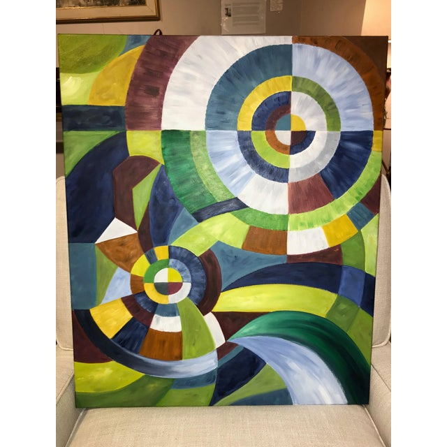 Colorful, abstract oil on canvas in the orphism style, or orphic cubism.