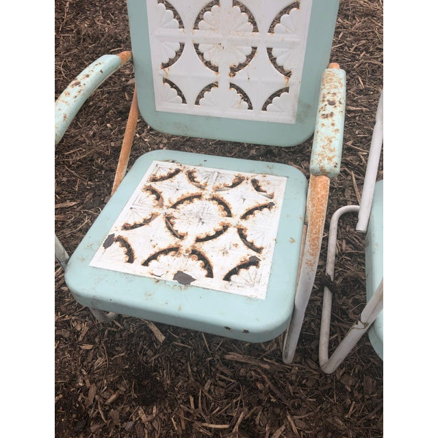 Mid-Century Modern Country Garden Arm Chairs in Light Turquoise and White - Set of 4 For Sale - Image 3 of 12