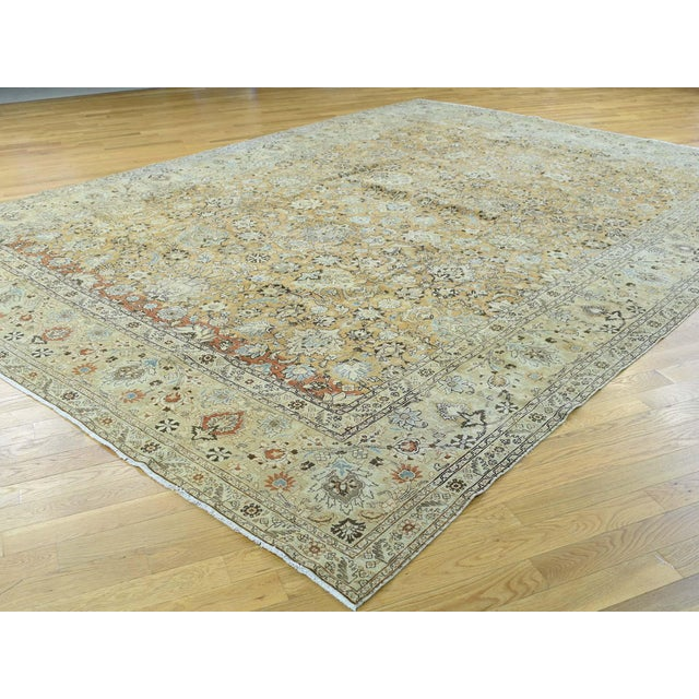 Islamic 1920s Vintage Hand-Knotted Persian Tabriz Rug - 9′6″ × 13′1″ For Sale - Image 3 of 12