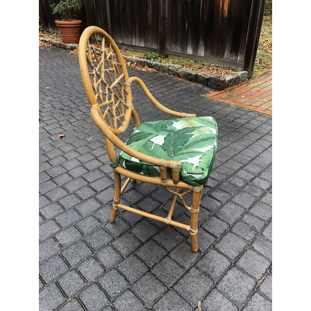 Vintage McGuire Palm Cushion Cracked Ice Rattan Chair - Image 3 of 11