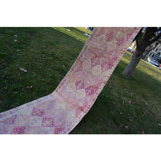 Distressed Turkish Oushak Runner Rug 2.6 X 13.5 Ft For Sale - Image 11 of 13