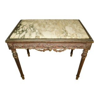 19th Century French Carved Cocktail Table With Marble Top For Sale