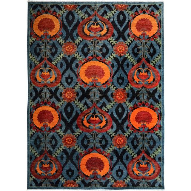Green Kafkaz Peshawar Zack Gray/Blue Wool Rug - 7'10 X 10'3 For Sale - Image 8 of 8