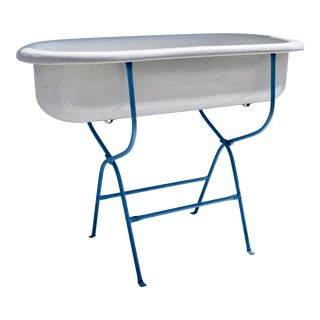 Porcelain Enamel Baby Bath on Folding Stand. For Sale