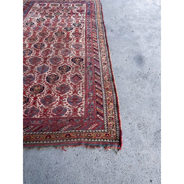 Antique Distressed Persian Khamseh Boho Tribal Rug - 5x9 Wide Runner For Sale In New York - Image 6 of 7