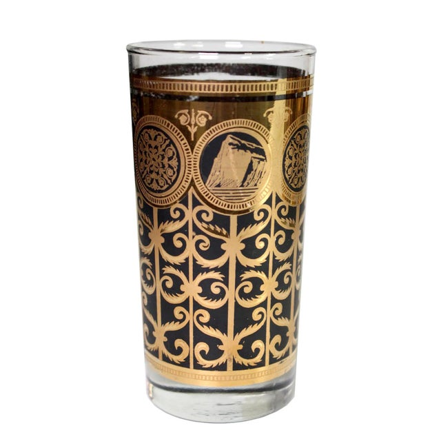 Mid-Century Modern 1960's Fred Press Mid-Century 22k Gold & Black Highball Martini Collins Glasses - Set of 10 For Sale - Image 3 of 5