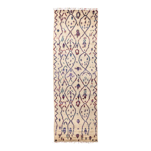 "Tullu Hand Knotted Runner Rug - 4' 3"" X 12' 3"" - Image 1 of 4"